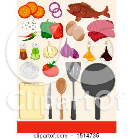 Clipart of a Cutting Board, Utensils, Pan and Ingredients - Royalty Free Vector Illustration by BNP Design Studio