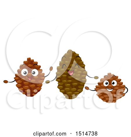 Clipart of a Group of Happy Pine Cone Characters - Royalty Free Vector Illustration by BNP Design Studio