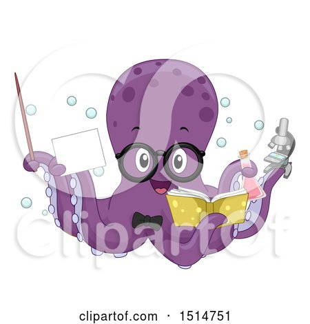 Clipart of a Purple Octopus Teacher Holding a Pointer Stick, Card, Book, Flask and Microscope - Royalty Free Vector Illustration by BNP Design Studio