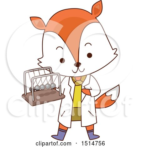 Clipart of a Student Fox Holding a Newtons Cradle - Royalty Free Vector Illustration by BNP Design Studio