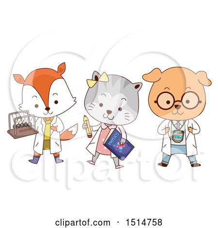 Clipart of a Student Fox, Cat and Dog with a Newtons Cradle, Book and Timer - Royalty Free Vector Illustration by BNP Design Studio