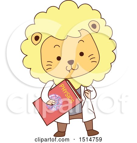 Clipart of a Cute Male Lion Student Holding a Physics Book - Royalty Free Vector Illustration by BNP Design Studio