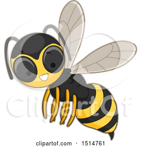 Clipart of a Happy Hornet - Royalty Free Vector Illustration by BNP Design Studio