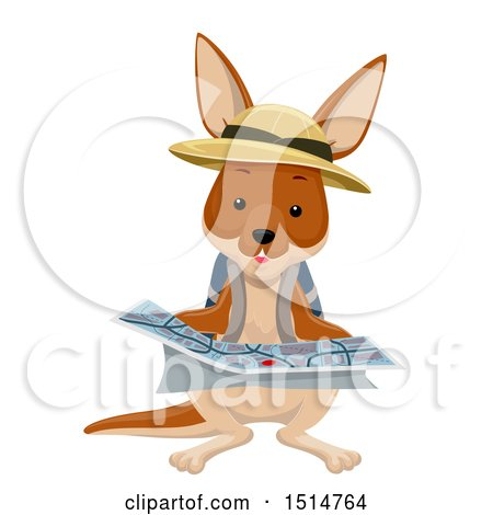 Clipart of a Kangaroo Explorer Reading a Map - Royalty Free Vector Illustration by BNP Design Studio