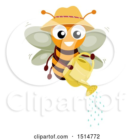 Clipart of a Happy Bee Using a Watering Can - Royalty Free Vector Illustration by BNP Design Studio