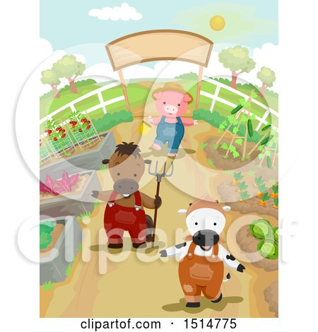 Clipart of a Cow Horse and Pig in a Vegetable Garden - Royalty Free Vector Illustration by BNP Design Studio