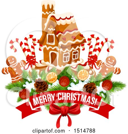 Clipart of a Merry Christmas Greeting with a Gingerbread House and Men - Royalty Free Vector Illustration by Vector Tradition SM