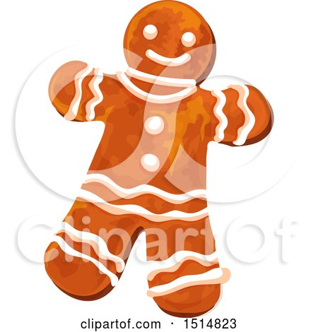 Clipart of a Christmas Gingerbread Man - Royalty Free Vector Illustration by Vector Tradition SM
