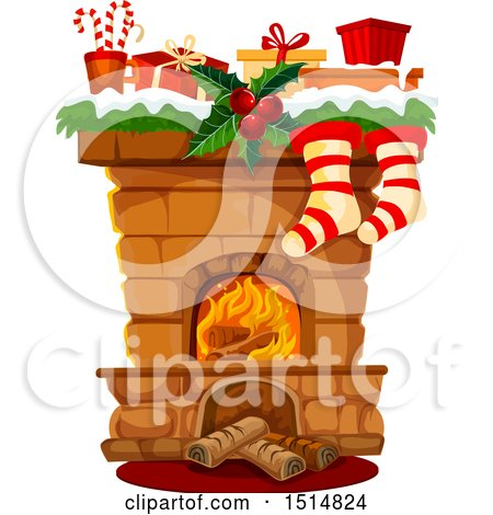 Clipart of a Christmas Fireplace - Royalty Free Vector Illustration by Vector Tradition SM