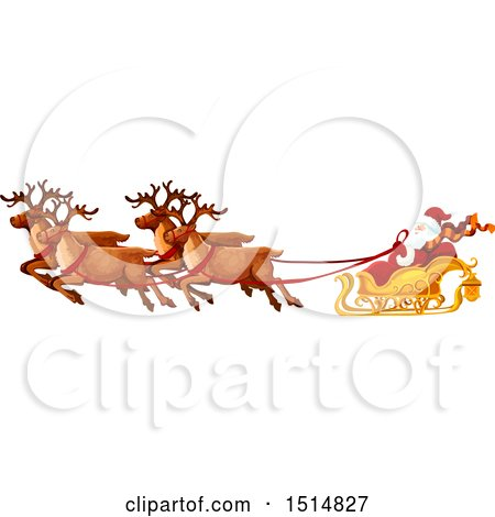 Clipart of a Christmas Sleigh with Santa and Reindeer - Royalty Free Vector Illustration by Vector Tradition SM