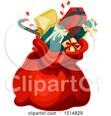 Clipart of a Christmas Sack with Gifts - Royalty Free Vector Illustration by Vector Tradition SM