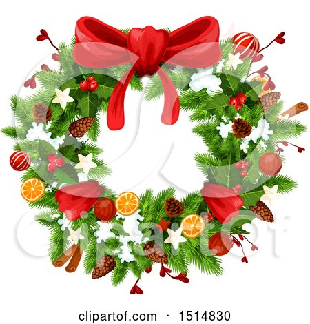 Clipart of a Christmas Wreath - Royalty Free Vector Illustration by Vector Tradition SM