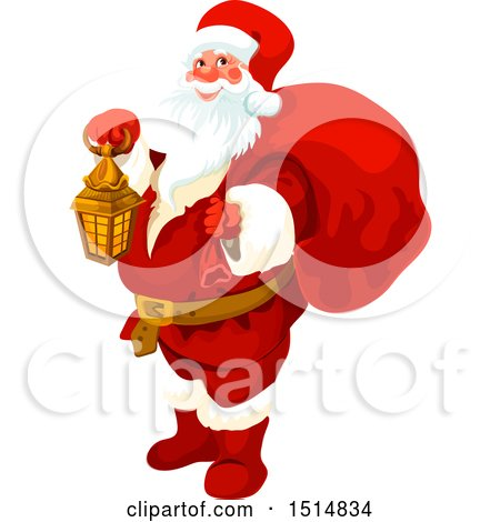 Clipart of a Christmas Santa Claus Holding a Lantern - Royalty Free Vector Illustration by Vector Tradition SM