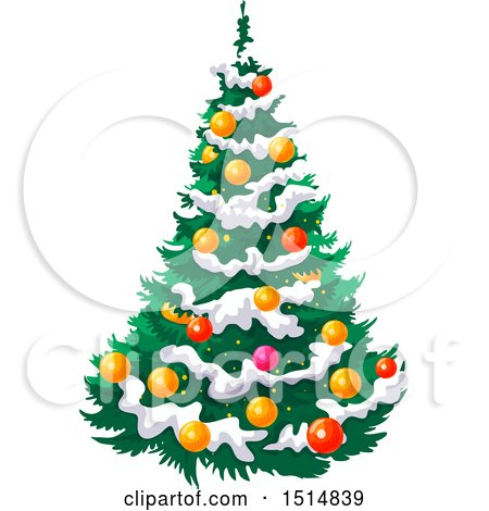 Clipart of a Christmas Tree with Snow - Royalty Free Vector Illustration by Vector Tradition SM