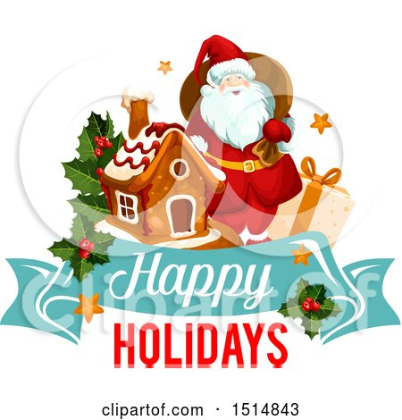 Clipart of a Happy Holidays Greeting with Santa - Royalty Free Vector Illustration by Vector Tradition SM