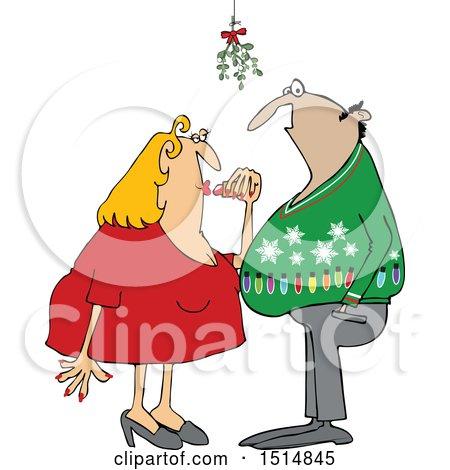 Cartoon Couple Under Mistletoe at a Christmas Party Posters, Art Prints