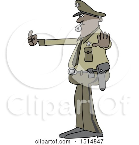 Clipart of a Cartoon Police Man Directing Traffic - Royalty Free Vector Illustration by djart