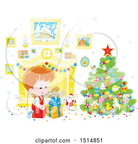 Clipart of a Happy Caucasian Boy Opening a Gift on Christmas Morning - Royalty Free Vector Illustration by Alex Bannykh