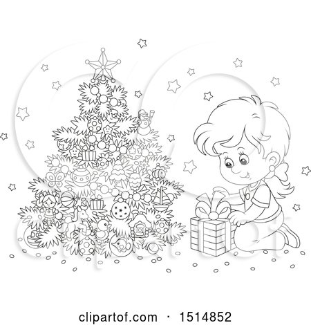 Clipart of a Black and White Happy Girl Opening a Gift on Christmas Morning - Royalty Free Vector Illustration by Alex Bannykh