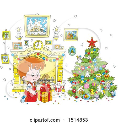 Clipart of a Happy White Boy Opening a Gift on Christmas Morning - Royalty Free Vector Illustration by Alex Bannykh