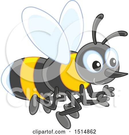 Clipart of a Bee - Royalty Free Vector Illustration by Alex Bannykh