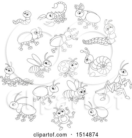 Clipart of Black and White Cute Bugs - Royalty Free Vector Illustration by Alex Bannykh