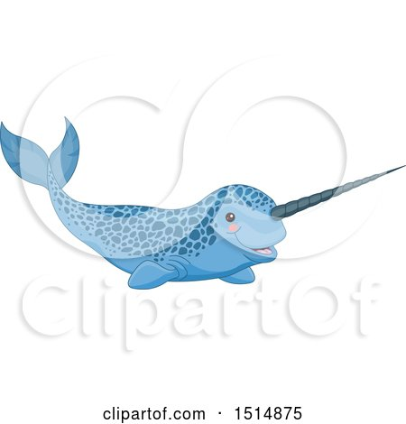 Clipart of a Cute Speckled Blue Narwhal - Royalty Free Vector Illustration by Pushkin