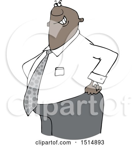Clipart of a Cartoon Happy Chubby Black Business Man with His Hands on His Hips - Royalty Free Vector Illustration by djart