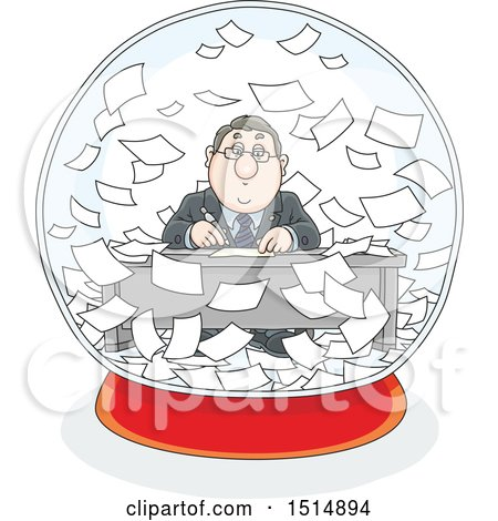 Clipart of a Cartoon Caucasian Business Man Working in a Snowglobe of Paperwork - Royalty Free Vector Illustration by Alex Bannykh