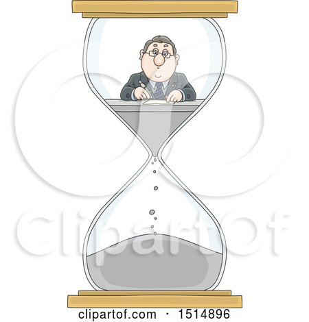Clipart of a Cartoon Caucasian Business Man Working in an Hourglass - Royalty Free Vector Illustration by Alex Bannykh
