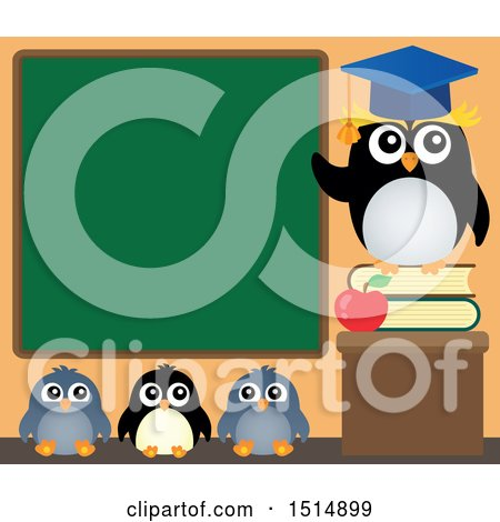 Clipart of a Professor Penguin and Students Under a Chalkboard - Royalty Free Vector Illustration by visekart