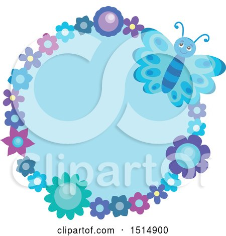 Clipart of a Round Floral Frame with a Blue Butterfly and Flowers - Royalty Free Vector Illustration by visekart