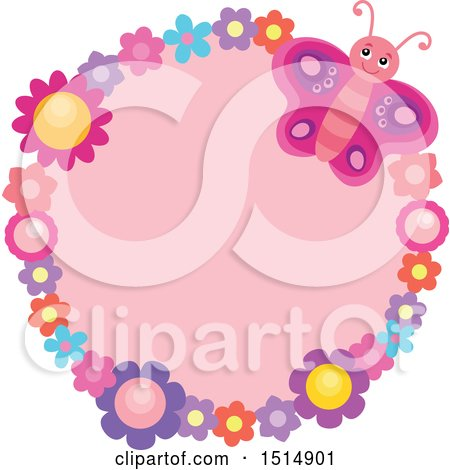 Clipart of a Round Floral Frame with a Pink Butterfly and Flowers - Royalty Free Vector Illustration by visekart