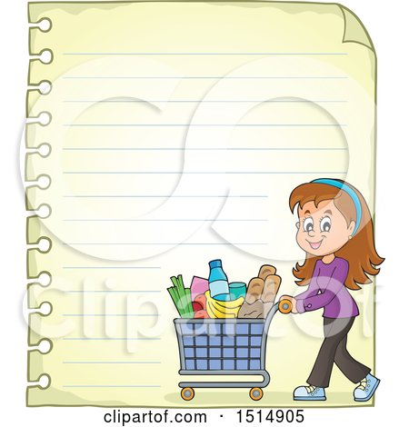 Clipart of a Sheet of Ruled Paper and a Woman Shopping - Royalty Free Vector Illustration by visekart