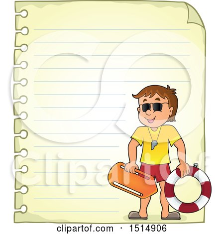 Clipart of a Sheet of Ruled Paper and a Male Lifeguard - Royalty Free Vector Illustration by visekart