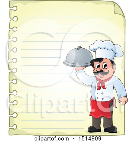 Clipart of a Sheet of Ruled Paper and a Male Chef Holding a Platter - Royalty Free Vector Illustration by visekart