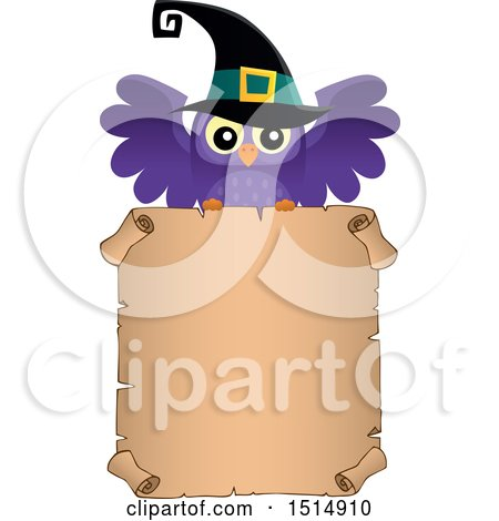 Clipart of a Witch Owl over a Parchment Scroll Page - Royalty Free Vector Illustration by visekart