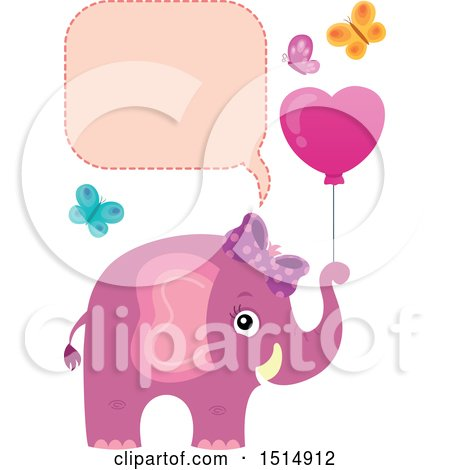 Clipart of a Pink Elephant with a Heart Balloon and Butterflies Under a Speech Balloon - Royalty Free Vector Illustration by visekart
