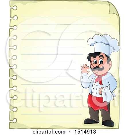 Clipart of a Sheet of Ruled Paper and a Male Chef - Royalty Free Vector Illustration by visekart