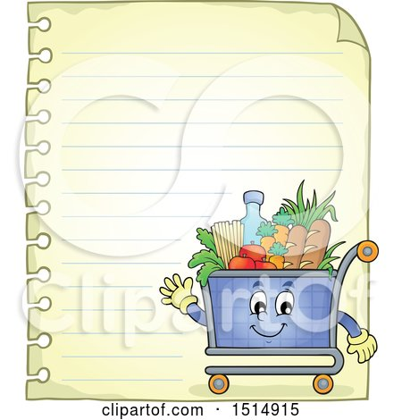 Clipart of a Sheet of Ruled Paper and a Shopping Cart - Royalty Free Vector Illustration by visekart