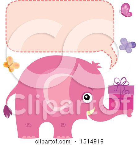 Clipart of a Pink Elephant Holding a Gift, with Butterflies a Speech Balloon - Royalty Free Vector Illustration by visekart