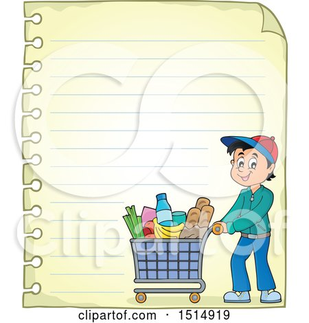 Clipart of a Sheet of Ruled Paper and a Man Shopping - Royalty Free Vector Illustration by visekart
