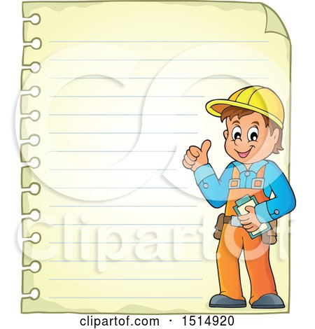 Clipart of a Sheet of Ruled Paper and a Male Construction Worker - Royalty Free Vector Illustration by visekart