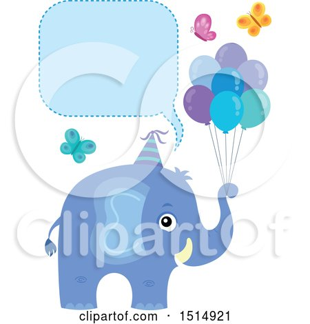 Clipart of a Blue Elephant with Party Balloons and Butterflies Under a Speech Balloon - Royalty Free Vector Illustration by visekart