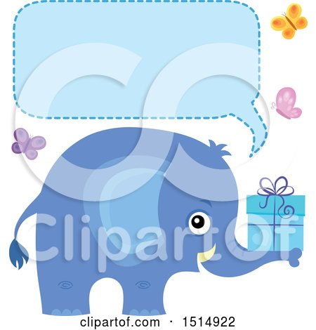 Clipart of a Blue Elephant Holding a Gift, with Butterflies a Speech Balloon - Royalty Free Vector Illustration by visekart