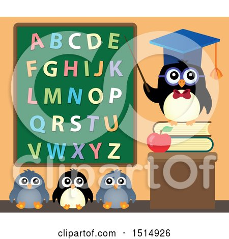 Clipart of a Professor Penguin and Students Under an Alphabet Chalkboard - Royalty Free Vector Illustration by visekart