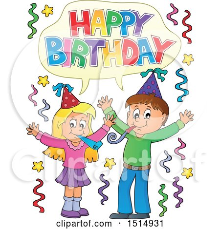 Clipart of a Boy and Girl Celebrating at a Birthday Party - Royalty Free Vector Illustration by visekart