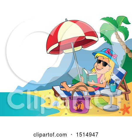 Clipart of a Girl Reading and Sun Bathing on a Beach - Royalty Free Vector Illustration by visekart