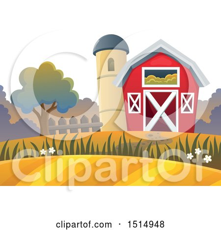 Clipart of a Red Barn and Silo in the Fall - Royalty Free Vector Illustration by visekart