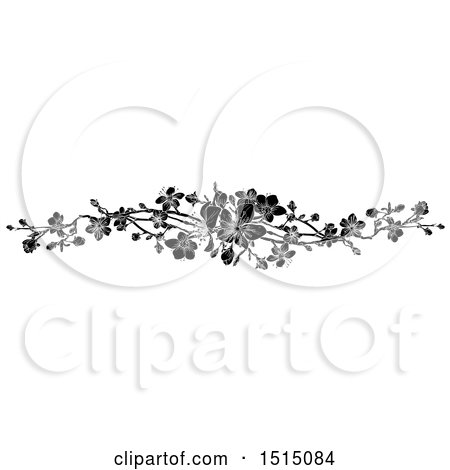 Clipart of a Black and White Spring Blossom Design Element - Royalty Free Vector Illustration by AtStockIllustration